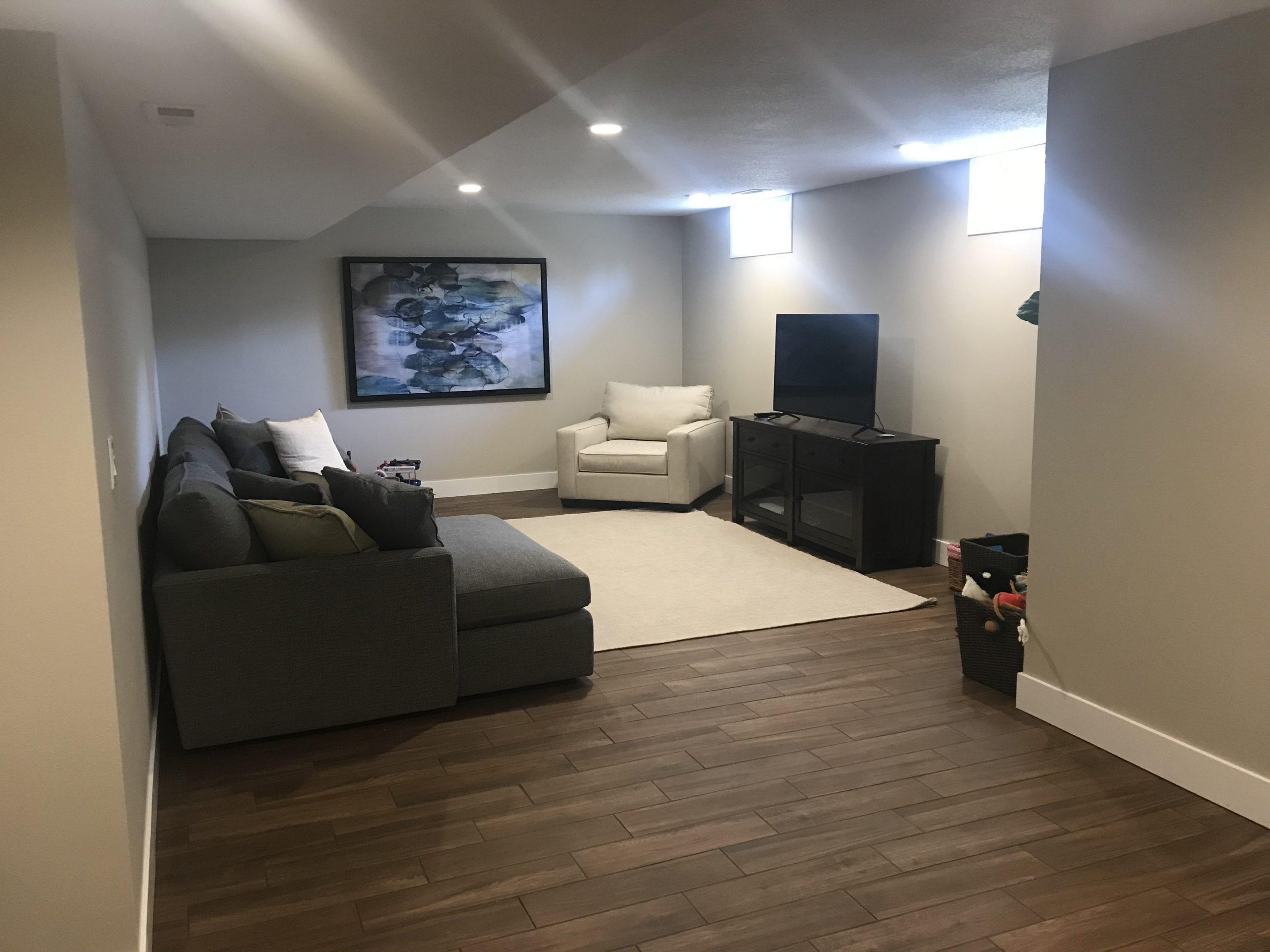 Finished Basement Remodel - West Des Moines Iowa - Tile Floor